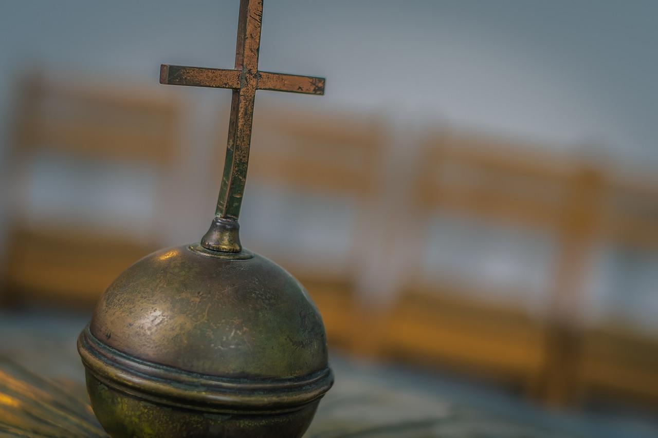 cross, baptismal font, copper