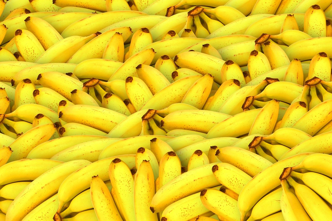 bananas, fruit, yellow