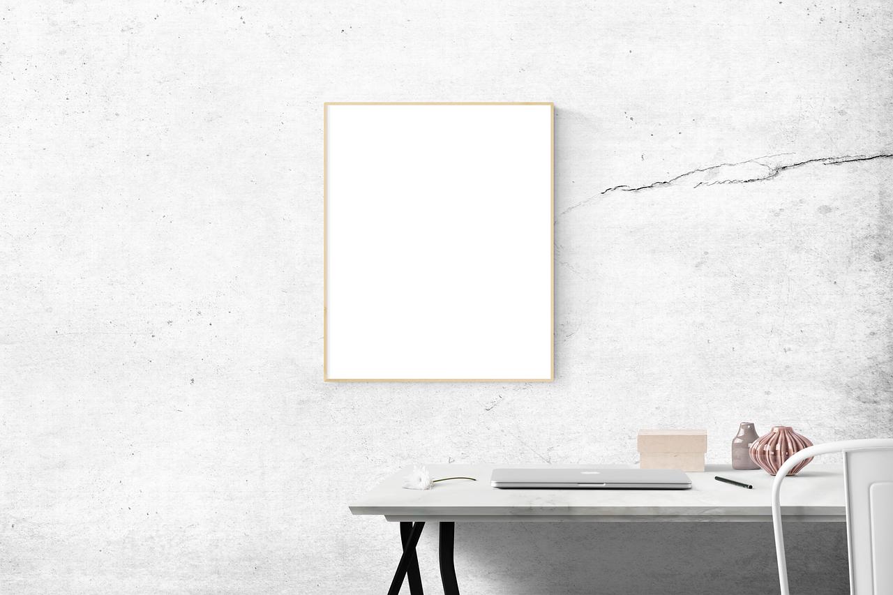 blank, desk, frame